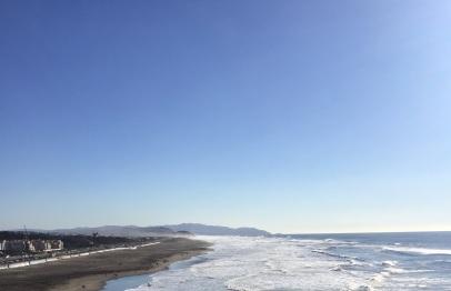 Boardwalk and coastline of Ocean Beach